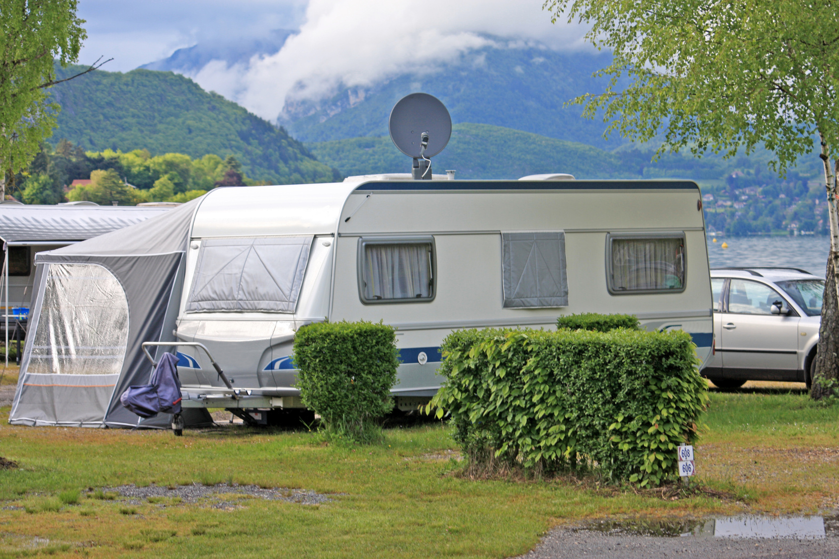 Caravan on camp site